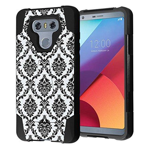 LG G6 Case, Capsule-Case Hybrid Fusion Dual Layer Shockproof Combat Kickstand Case (Black) for LG G6 (2017) - (Black Floral Damask) (Best Wallpapers For Lg G2)
