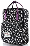 HotStyle Girls Floral Print Handbag Backpack - Waterproof Fits 13 inches Laptop - Black