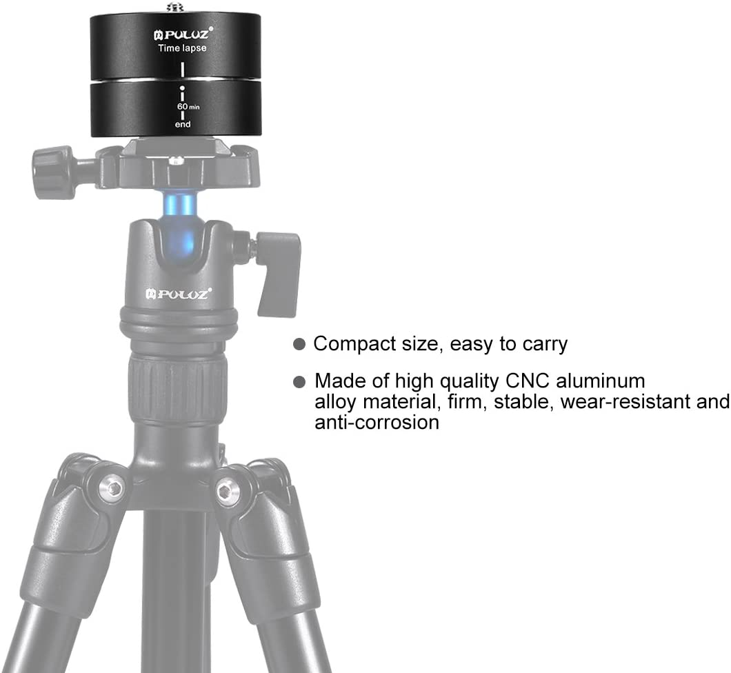 CAOMING 360 Degrees Panning Rotation 60 Minutes Time Lapse Stabilizer Tripod Head Adapter Durable