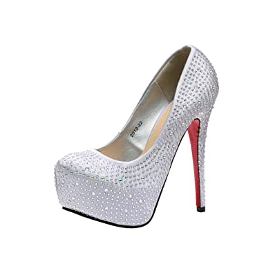 Rivazo Women's Silver Textured Studded High Heels Pumps -41: Buy ...
