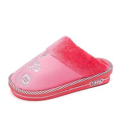 SHANGXIAN Invierno Calentar Pantuflas Antideslizante Casa Zapatos Hombres Mujeres Interior Piso Dormitorio Pareja Felpa Zapatos,