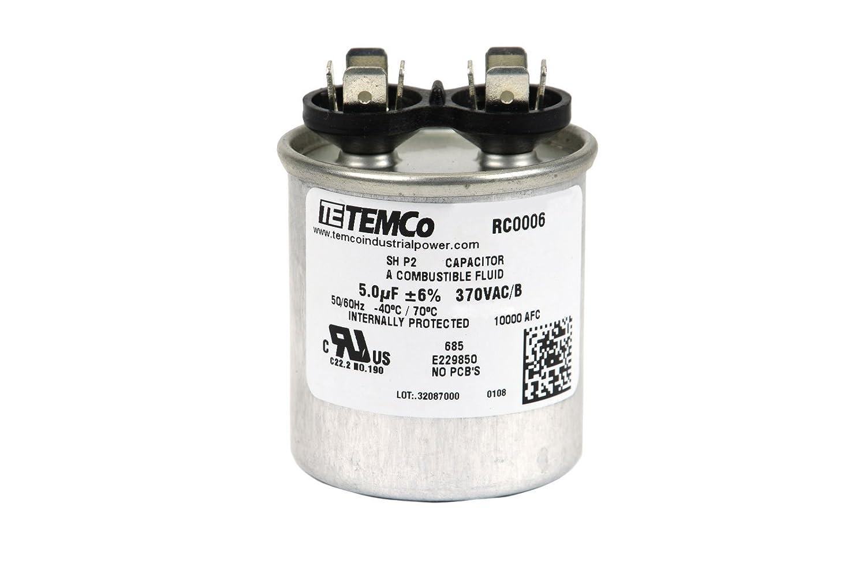 Temco Motor Run Capacitor Rc0006 5 Mfd 370 V Vac Volt Electrical Circuit 2 Uf Round Hvac Ac Electric Automotive