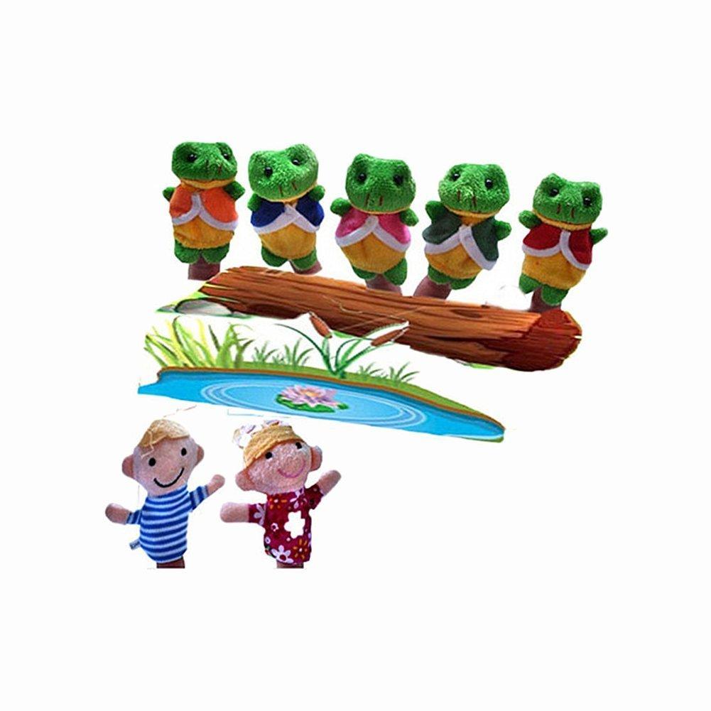 Vi.yo 5 Little Speckled Frogs Finger Puppets Set Hand Gloves Lovely Nursery Rhyme Finger Baby Toy Dolls Educational Toys, Set of 7