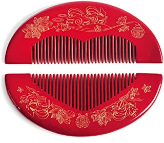 MIIAOPAI Hair Care Comb Thick And Durable Fine-Tooth Wood Comb Home (Dark Red)