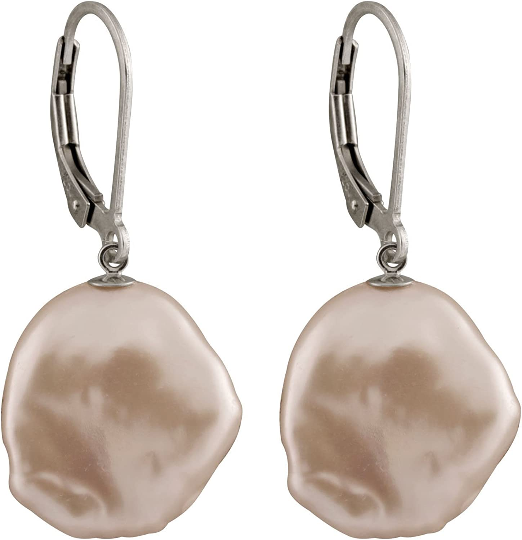 Splendid Pearls 925 Sterling Silver Lever-back Dangle Earrings 13-15mm Coin Keshi Pearls