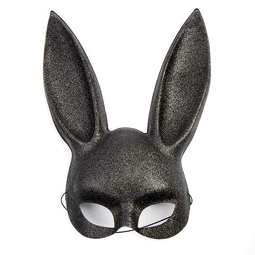 Glitter Bunny Mask in Black, Pink White (Black)
