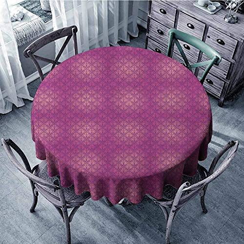 ScottDecor Food Round Tablecloth Circular Table Cover Victorian,Antique Style Scroll Motifs Flowers Pink Shades Classical Pattern, Magenta Peach and Purple Diameter 36""