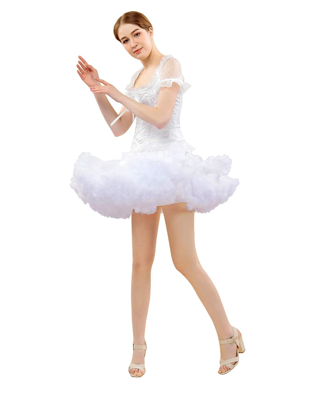 FOLOBE Womens Ruffled Tulle Skirt Adult Tutu Petticoats Pettiskirt