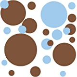 RoomMates RMK1246SCS Just Dots Blue and Brown Peel & Stick Wall Decals