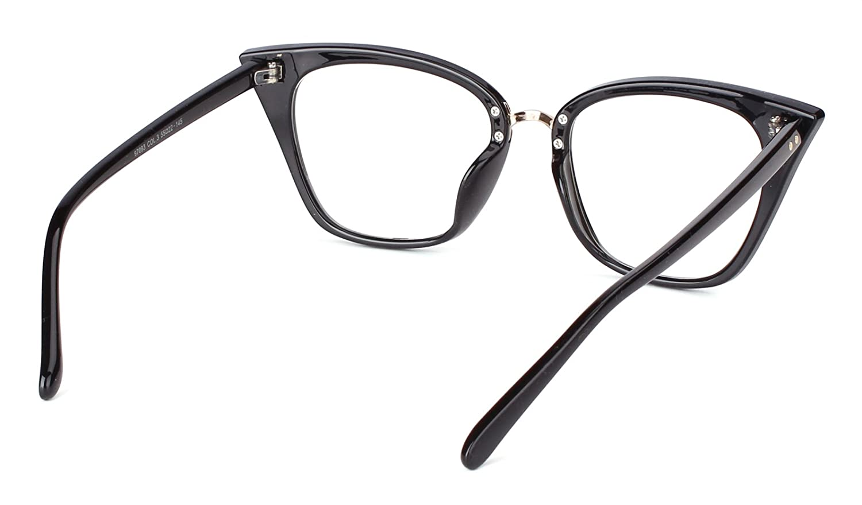 1fc711c46 Amazon.com: Beison Customize Prescription Glasses - Womens Cat Eye Mod  Fashion Eyeglasses Frame Clear Lens (Black, Customized Prescription Lens):  Clothing
