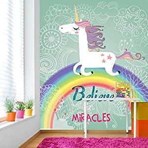 Believe in miracles unicorn over rainbow for Amazon mural wallpaper