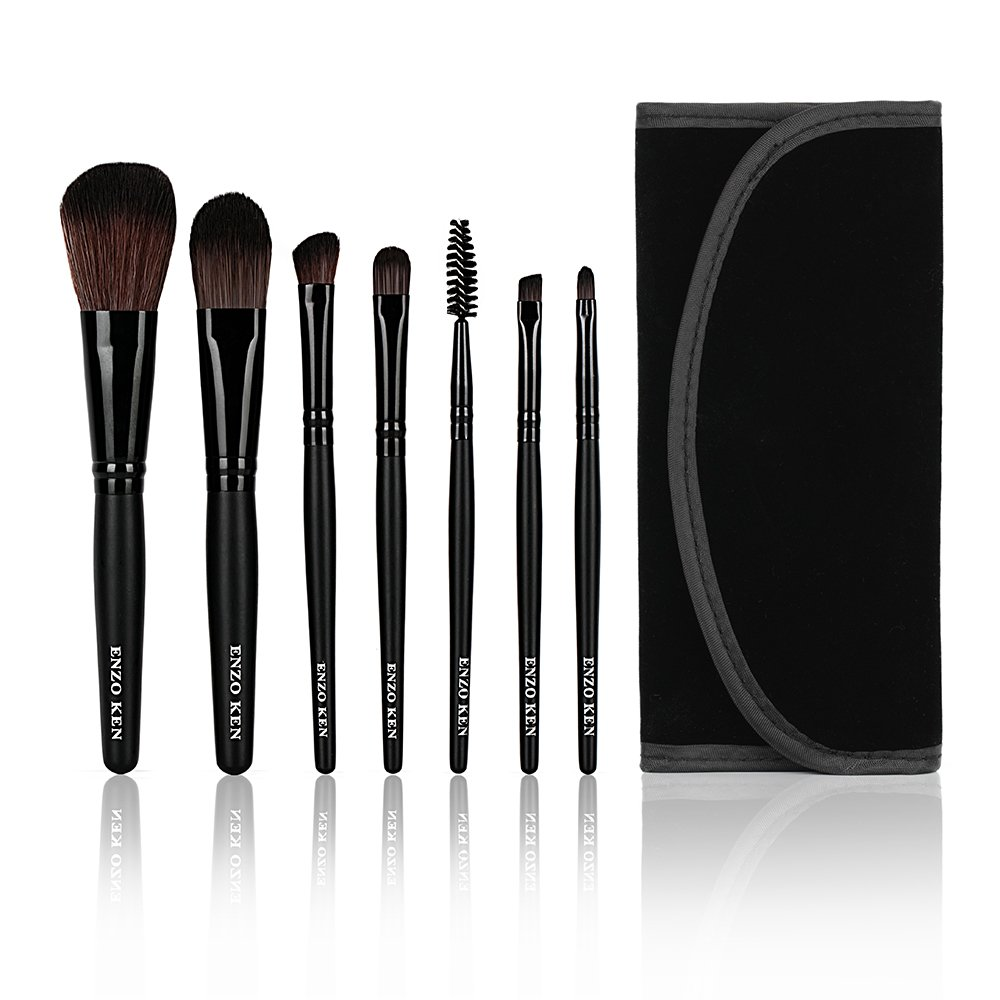 Makeup Brushes with Cosmetic Case ENZO KEN 7 Pcs Synthetic Foundation Powder Concealers Eye Shadows (7pcs)