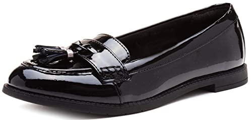 51754fe1a56 Clarks Preppy Edge BL Girls Classic Loafer School Shoes 7 F Black Patent   Amazon.es  Zapatos y complementos