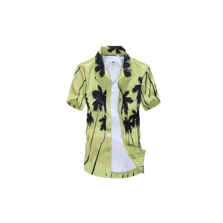 Mens Hawaiian Shirt Male Casual Camisa Masculina Printed Beach Shirts Short Sleeve,Asian Size1,XXXL
