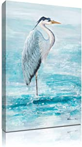 Teal Seabird Wall Canvas Print: Blue Herons Decor Standing Over Shining Lake Picture for Girl's Bedroom Framed Ready to Hang (16