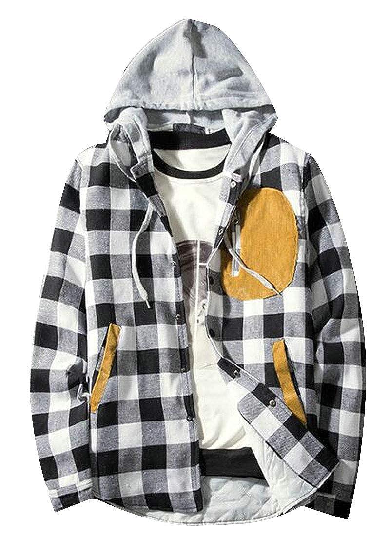 Bravepe Mens Contrast Patch Loose Fit Lattice with Zip Deco Hoodies Sweatshirts Jacket Coat