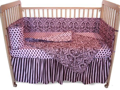 Tadpoles Damask 4-Piece Crib Set, Pink Brown Discontinued by Manufacturer