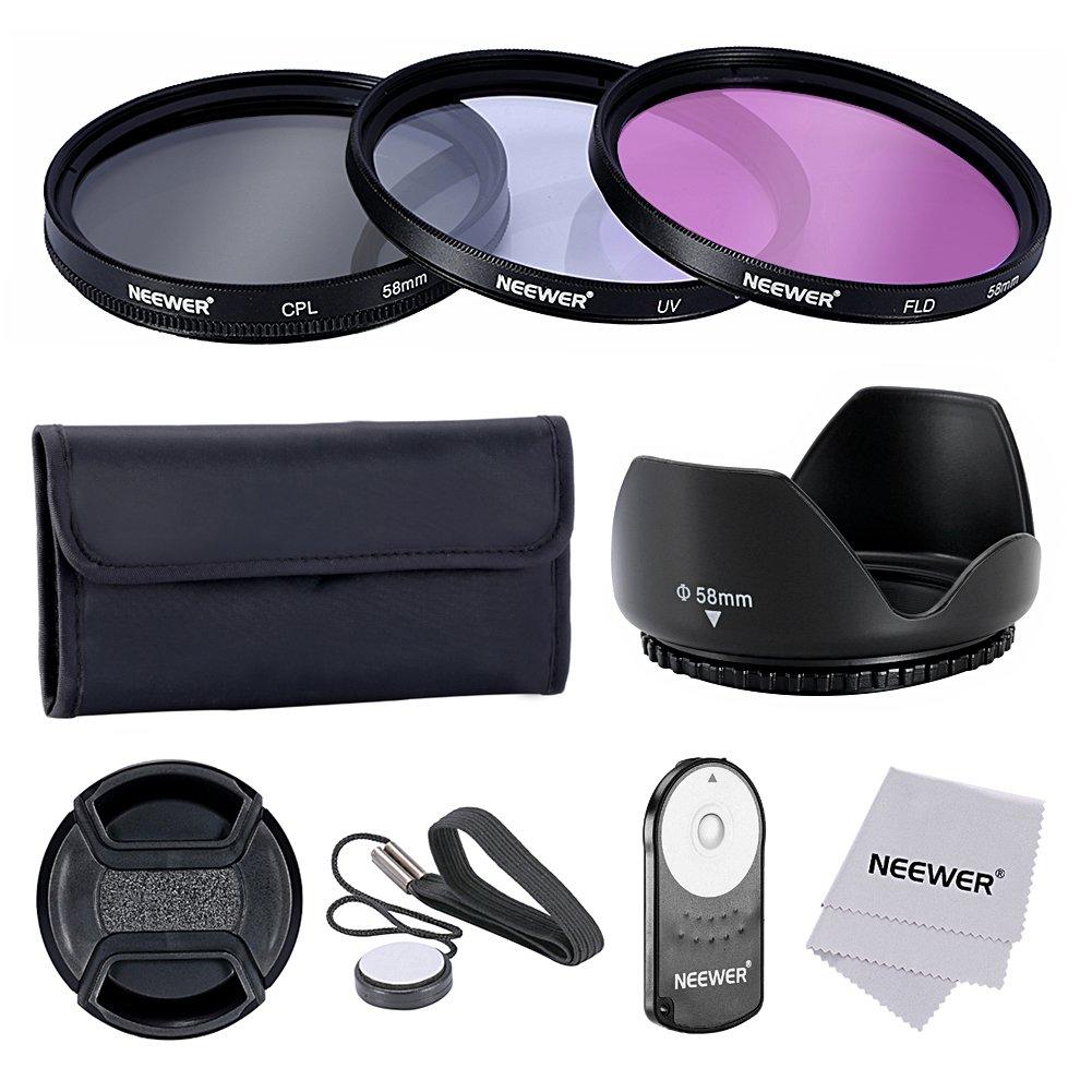 Neewer 58MM Pro -  Kit de Accesorios para Filtro de Lentes y Control Remoto IR Inalá mbrico RC-6 para Canon EOS Rebel T5i, T4i, T3i, T3, T2i, T1i, XT, XTi, XSi, SL1 90083613@@##3