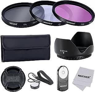Neewer 58MM Pro -  Kit de Accesorios para Filtro de Lentes y Control Remoto IR Inalámbrico RC-6 para Canon EOS Rebel T5i, T4i, T3i, T3, T2i, T1i, XT, XTi, XSi, SL1