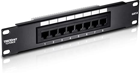 TRENDnet TC-P08C6 Panel de parcheo - Bahía de Entrada (1000Base-T, RJ-45, Cat6, Negro, CE, FCC, 44 mm)