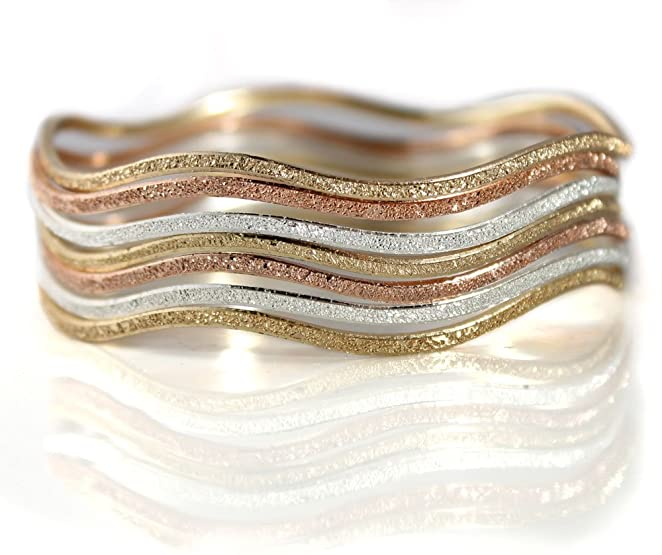 Rose, Gold Tone and Silver Tone Stackable Bangle Bracelets. Set of Seven, Diamond-Etch Finish