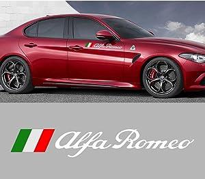 2PCS 60CM Sport Car Door Side Stickers For Alfa Romeo Giulia Giulietta 159 156 MITO Stelvio 147 GT Vinyl Auto Decor Accessories (WHITE)