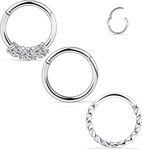 1Pair Surgical Steel Crystal Septum Nose Ring Segment Helix Tragus Ring Hoop