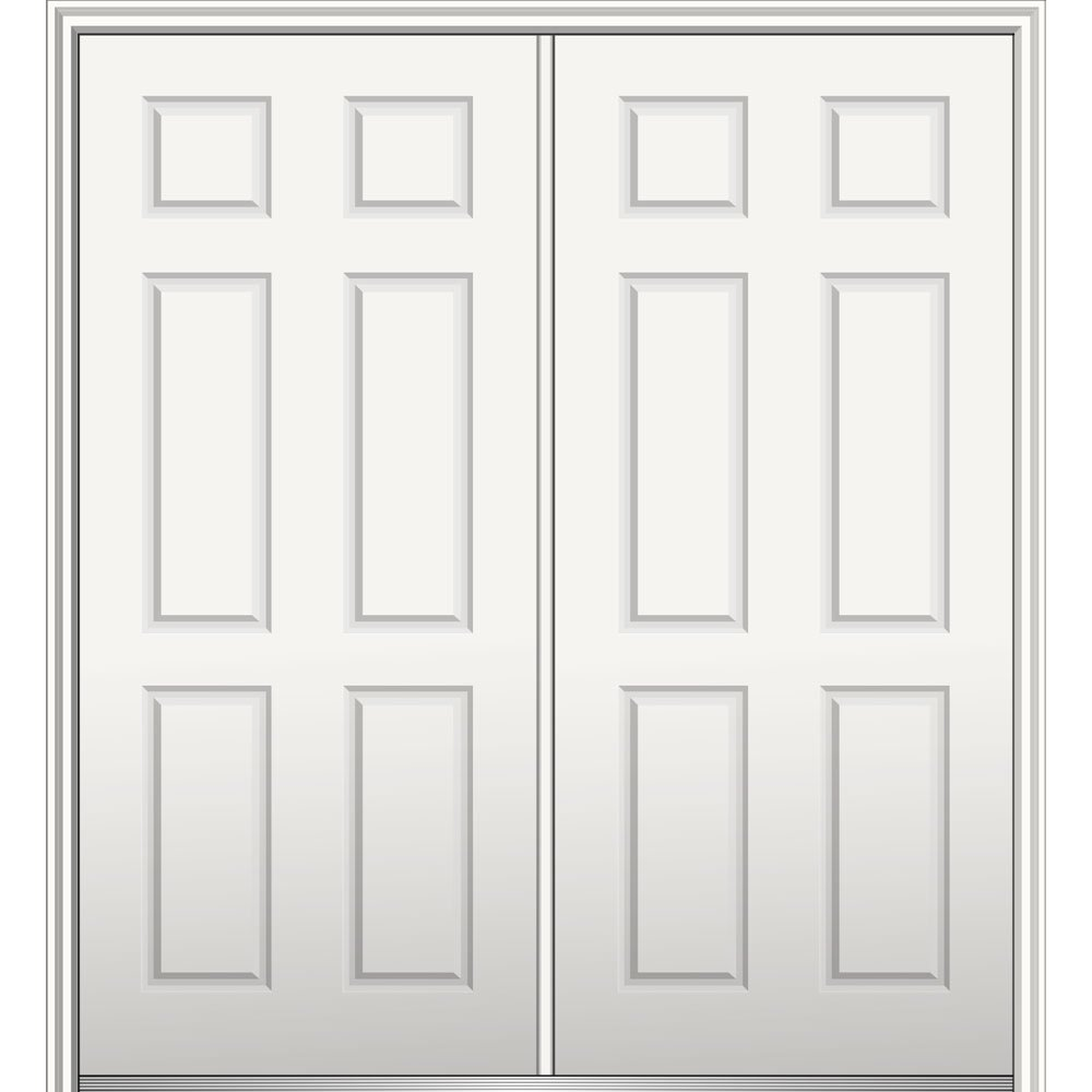 National Door Z029344R  Primed Right Hand In-swing, Prehung Front Door, 6-Panel, 60'' x 80'', Steel