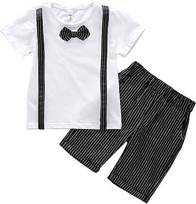 Quge Conjuntos Bebé Niño Camisa De Manga Corta Bebé Bowtie Y Pantalones Cortos De Tirantes Conjunto: Amazon.es: Ropa y accesorios
