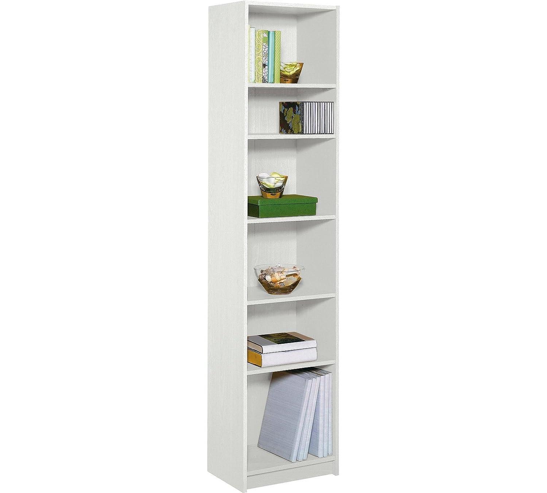 HOME Maine 5 Shelf Half Width Extra Deep Bookcase - White
