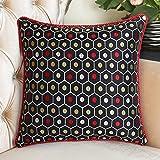 Modern Chinese style pillow Feather silk cushions Sofa bed hold silk pillowcase-C 48x68cm(19x27inch)VersionB