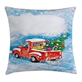 48 Inch Square Ottoman Christmas Throw Pillow Cushion Cover, Vintage Red Truck in Snowy Winter Scene with Tree and Gifts Candy Cane Kids, Decorative Square Accent Pillow Case, 18 X 18 Inches, Blue White Red