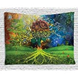 Ambesonne Ethnic Tapestry, Tree in The Valley with Spiral Branch Balance in Mother Earth Zen Art Illustration, Wall Hanging for Bedroom Living Room Dorm, 60 W X 40 L Inches, Green Blue