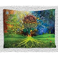 Ambesonne Ethnic Tapestry, Tree in The Valley with Spiral Branch Balance in Mother Earth Zen Art Illustration, Wall Hanging for Bedroom Living Room Dorm, 80 W X 60 L Inches, Green Blue