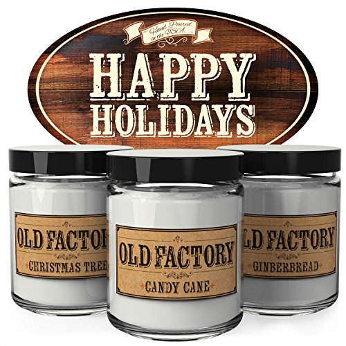 Scented Candles - Happy Holidays - Set of 3: Christmas Tree, Candy Cane, and Gingerbread - 3 x 4-Ounce Soy Candles - Each Votive Candle is Handmade in the USA with only the Best Fragrance Oils - Candy Cane Set