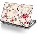 TaylorHe Laptop Skins - Pegatina de vinilo para portátil (15,6'', efecto cuero), diseño floral