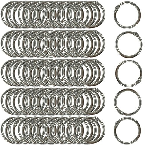 Clipco Book Rings Small 1-Inch Nickel Plated Metal (100-Pack) Nickel Metal Rings