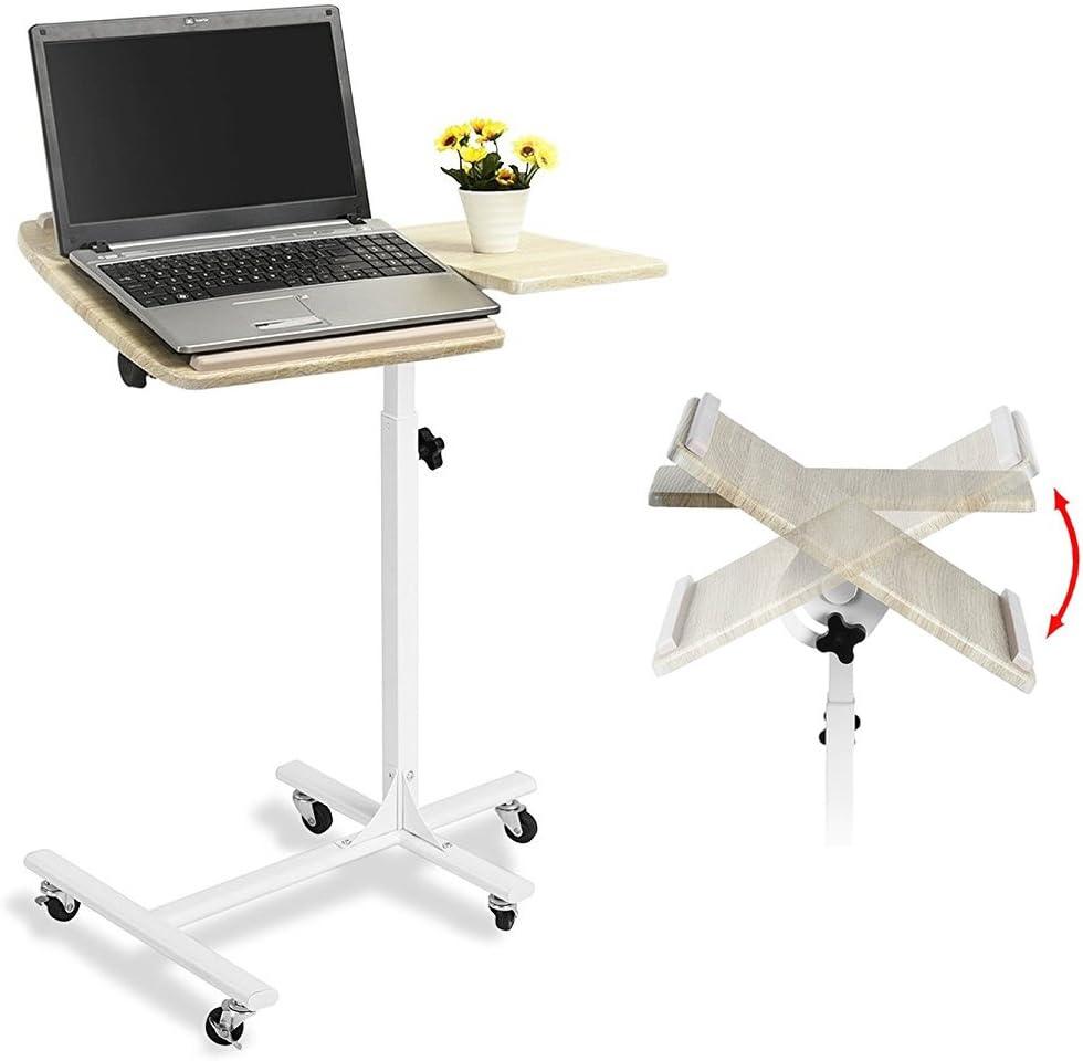 Table de lit AMALTHEA - Structure en métal - Hauteur et inclinaison  réglables - Coloris hetre et blanc