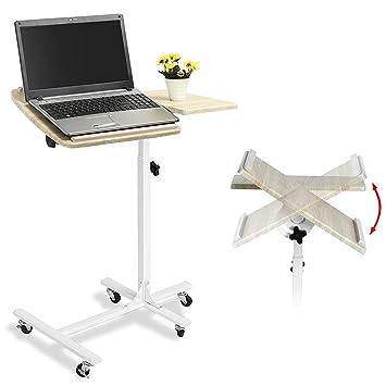 Bakaji carro con ruedas mesa porta PC notebook Proyector portátil con ruedas altura ajustable 60 x 40 x 70/90 cm, carro Alto Stand Showroom, mesa ...
