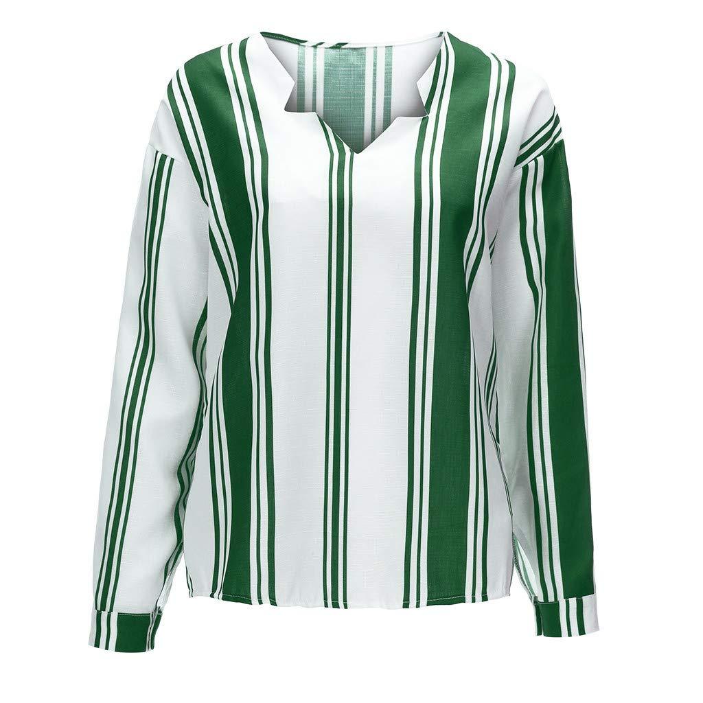 Lataw Womens Shirt Fashionable Long Sleeve V Neck Stripe Casual Autumn Blouse Comfortable Tops Tee