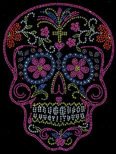 Sugar Skull Pink Rhinestone Transfer Iron On - -