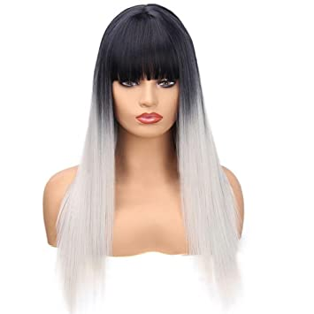 Huphoon Full Wigs Long Fluffy Straight Front Bangs Gray Gradient Color Natural Curly Syntheic Fiber Hair