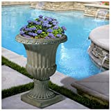 25'' Tall Aged Green Stone Decor Outdoor Garden Urn Planter Flowers Pot