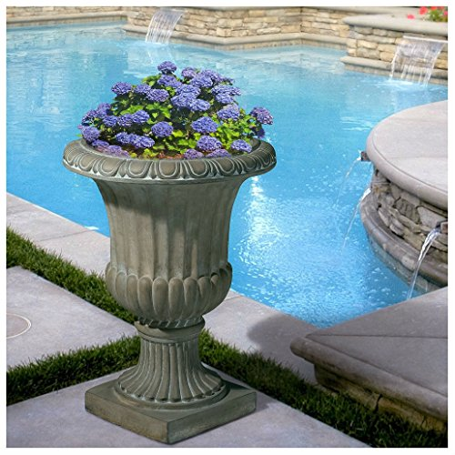 25'' Tall Aged Green Stone Decor Outdoor Garden Urn Planter Flowers Pot by Unbranded*