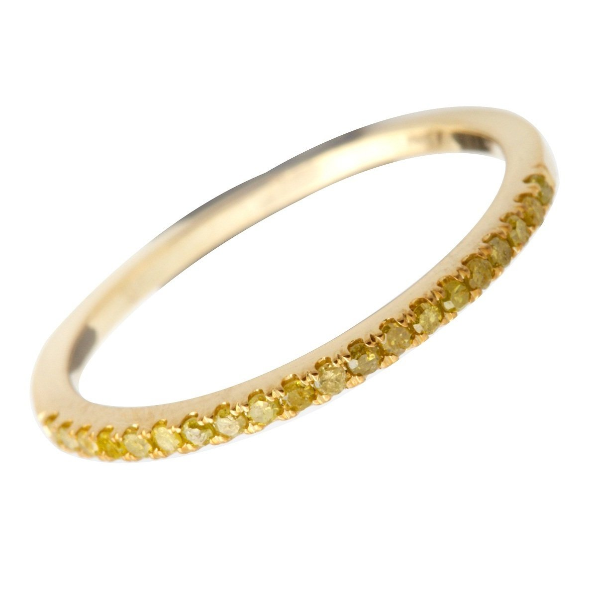 Goldenstar 0.15Ct Round Yellow Diamond Half Eternity Anniversary Band,10k Yellow Gold Size 9
