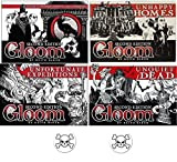 Gloom Card Game Bundle of Gloom, Unhappy Homes, Unfortunate Expeditions, and Unquiet Dead Second Edition Plus 2 Bonus Skull Buttons