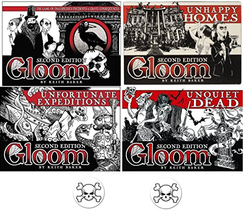 Gloom Card Game Bundle of Gloom, Unhappy Homes, Unfortunate Expeditions, and Unquiet Dead Second Edition Plus 2 Bonus Skull Buttons by Mixed