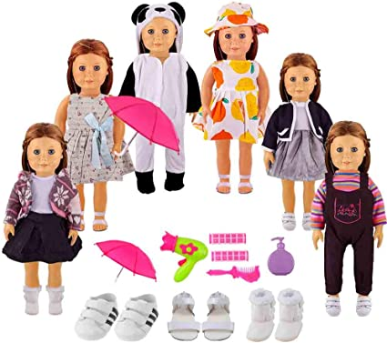 YIQIHAI 20 Pcs Winter Doll Clothes and Accessories for 18 Inch Doll, Include 6 Sets Girl Doll Clothes, 3 Pairs Shoes, Umbrella and Dressing Combination, Great Christmas Birthday Gift for Girls