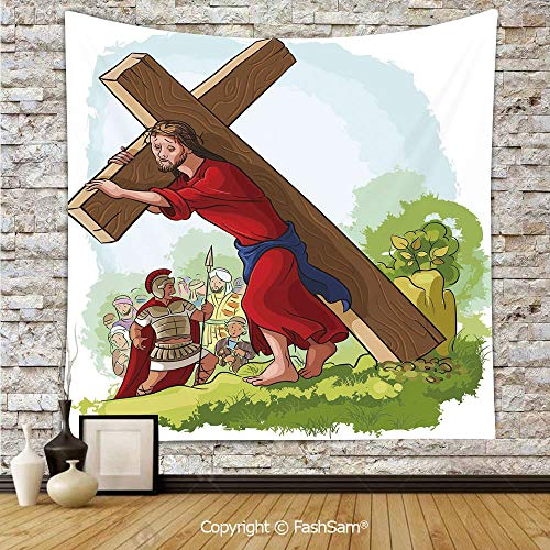 FashSam Tapestry Wall Blanket Wall Decor Cartoon Style Carrying The Cross Scenery Historical Figure Roman Soldier Home Decorations for Bedroom(W59xL90)]()