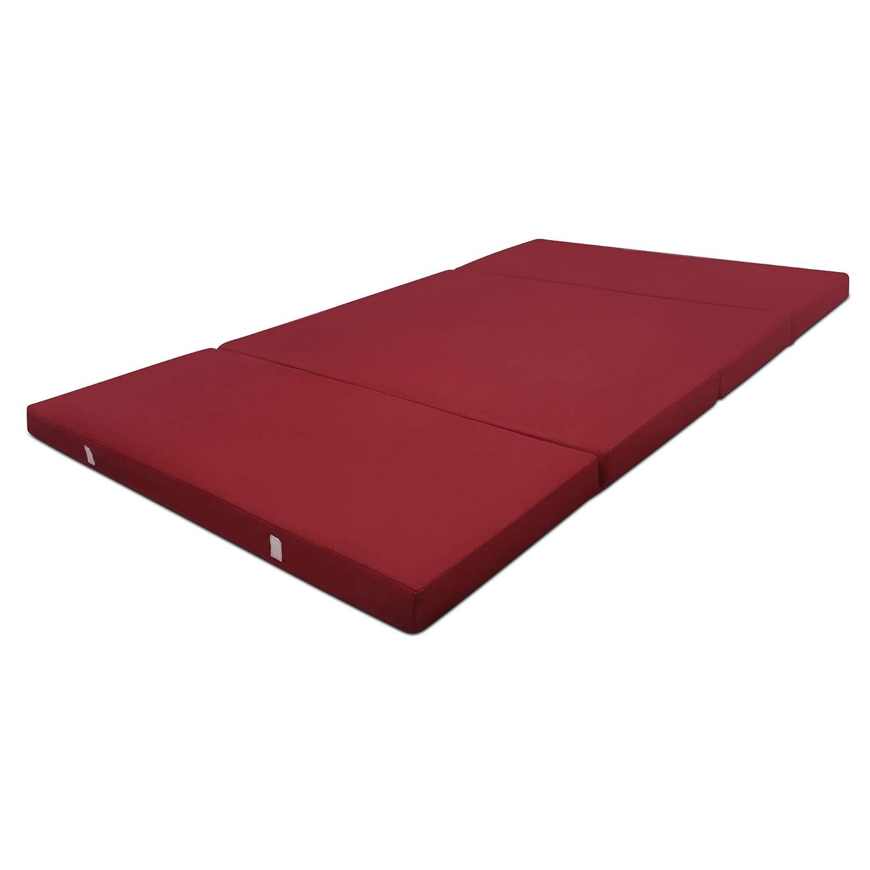 Beautissu Cómodo colchón Plegable Campix Auxiliar futón 120 x 195 x 7 cm Ahorra Espacio Tela Microfibra Rojo Oscuro: Amazon.es: Hogar